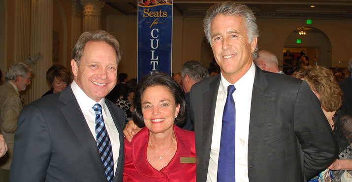Debonair Christopher Kennedy Lawford is pictured with fellow guest speaker James Hutcheson and Oregon Partnership outreach coordinator Barbara Caplan