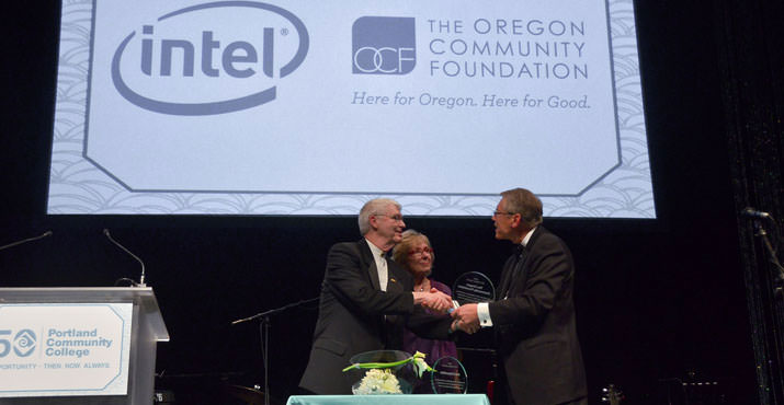 PCC Board Chair Jim Harper presents the Patron Award to Jill Eiland, NW Region Corporate Affairs Manager of Intel, and Eric Parsons, Board Chair of the Oregon Community Foundation