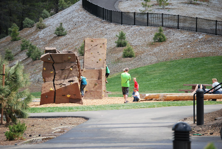The grounds have a rock climbing wall.