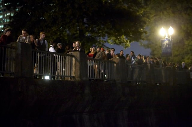 Portlanders in line for the MTV Iggy Music Experiment party sponsored by Intel on the Willamette River