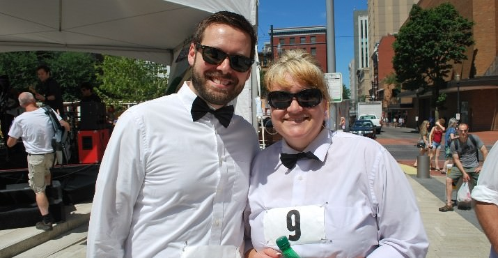 The winners of the 9th Annual Waiter's Race, La Course Des Garcons De Cafe were Michael Cook from the Chart House and Kristen Samuelson from Ruth Chris