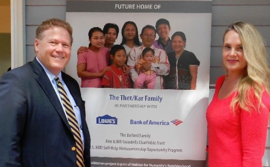 Bank of America's Larry Davis and Monique Barton dedicated a home to a refugee family through their new partnership with Habitat, which will donate 2,000 homes over the next 2 years to Habitat affiliates nationwide.