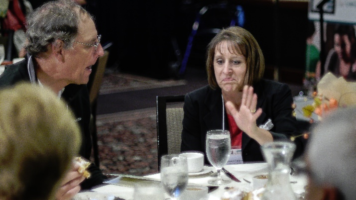 Washington County Commissioner Dick Schouten and Edwards Center Executive Director Jessica Leitner