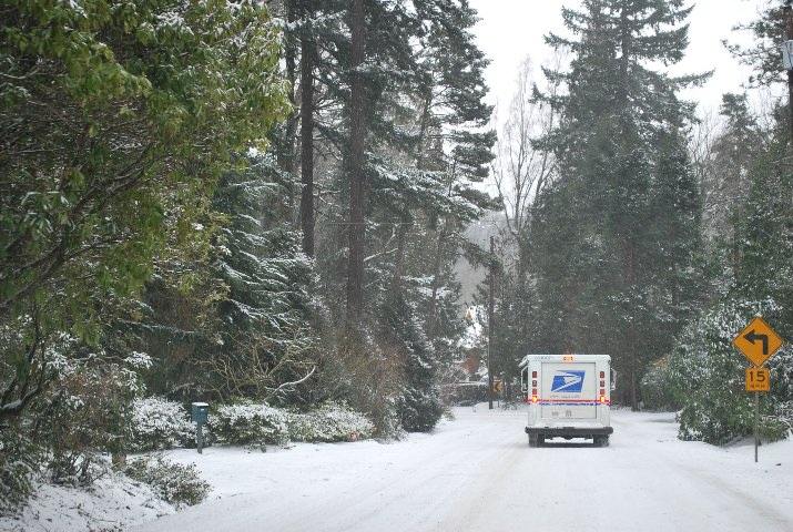 Neither snow nor rain nor heat nor gloom of night stays these couriers from the swift completion of their ... Rain or shine, snow or sleet, we deliver your mail!