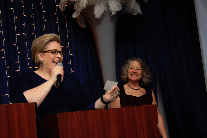 Auctioneer JillMarie Wiles and former Gresham police chief Carla Piluso are regular supporters of the SnowCap Community Charities Dinner.  © LeeAnn Gauthier