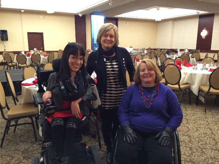 Christine Getman (left) was one of the speakers of the day's events and Leslie Adams (center) and Vicky Aubry (right) from Performance Mobility were one of the sponsors of Wheel to Walk's event.