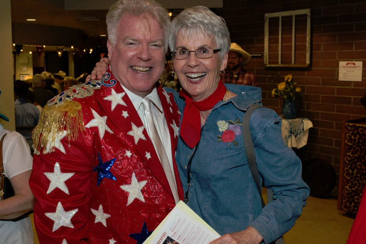 Broadway Rose General Manager, Dan Murphy shares a laugh with Hootenanny! guest and longtime Broadway Rose supporter, Bonnie Conger.