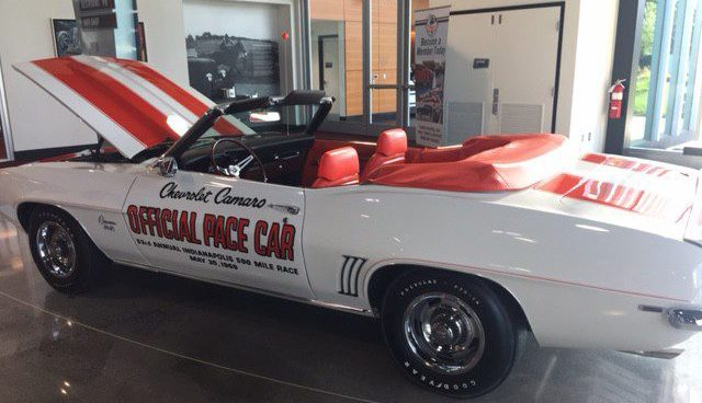 This is a 1969 Chevrolet Camaro Indy Pace Car replica.