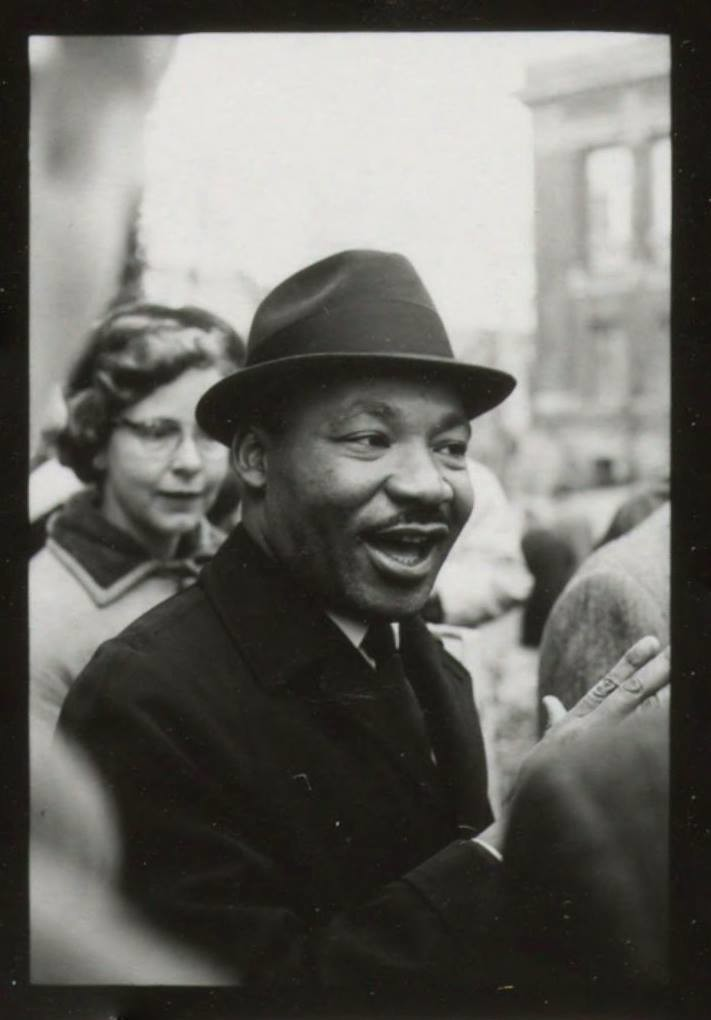 n remembering Martin Luther King Jr., we share this photo of the Civil Rights Movement leader and minister from January of 1965, when he was a guest preacher at Memorial Church in Harvard Yard.
