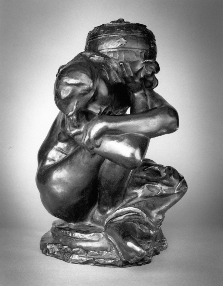 Auguste Rodin (French, 1840–1917), Fallen Caryatid with Urn, modeled 1883, enlarged 1911-17; Musée Rodin cast 4 in 1982; Bronze; Coubertin Foundry; 45 1/4 x 36 3/4 x 31 1/8 in. Lent by Iris Cantor.